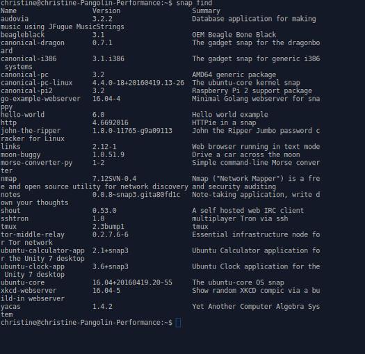 Xubuntu 16.04 snap packages