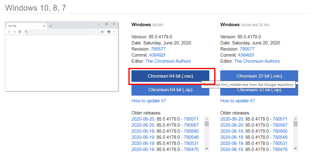 Downloading Chromium Web Browser