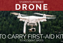 Students designed drone to carry first-aid kit to accident spots