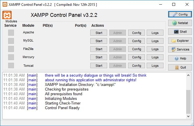 xampp control panel windows 10