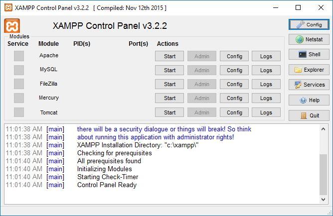 xampp control panel windows 10
