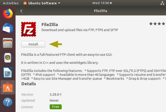 filezilla_install-ubuntu-software-center