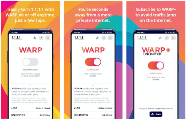 Warp VPN app on Windows