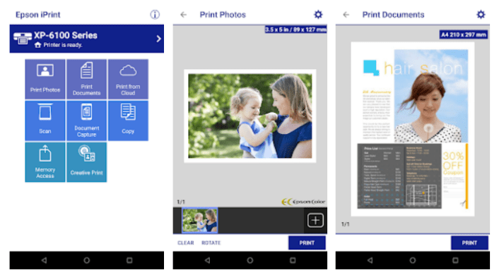 Epson iPrint app on Windows