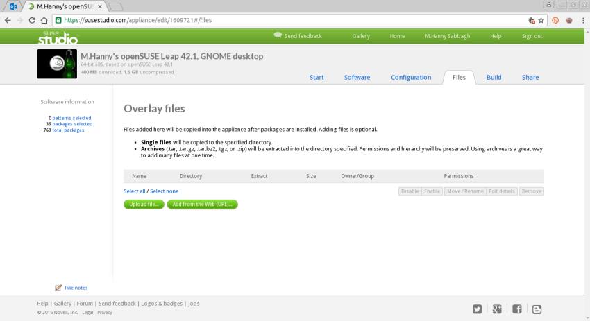 SUSE Studio Files Tab