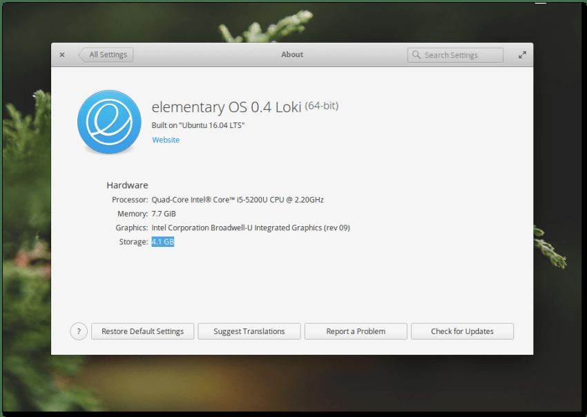 Elementary OS 0.4 Loki About Window