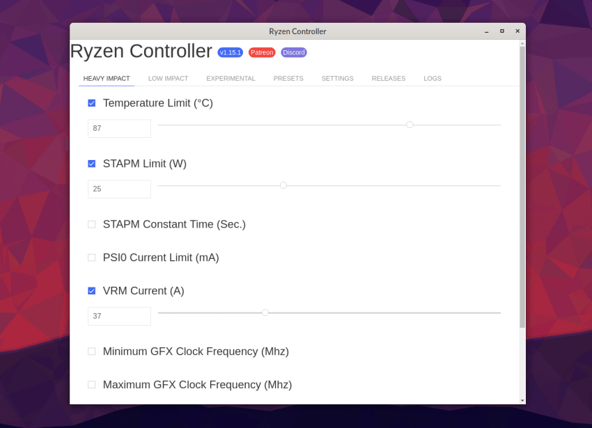 Overclock your AMD Ryzen Mobile on Linux with Ryzen Controller 15