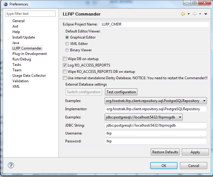 Specify DB connection in Fosstrak LLRP Commander