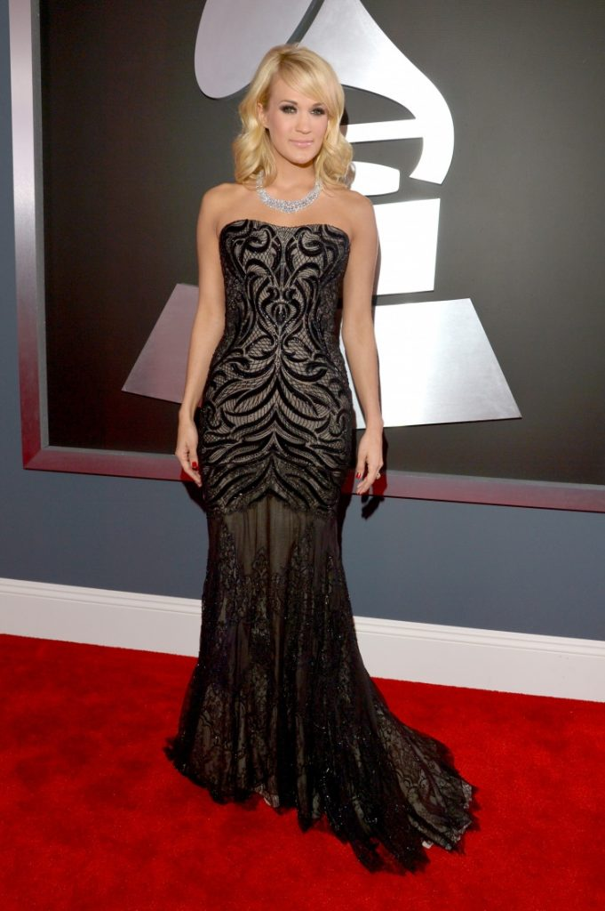 Carrie Underwood in Roberto Cavalli. Photo via www.grammy.com