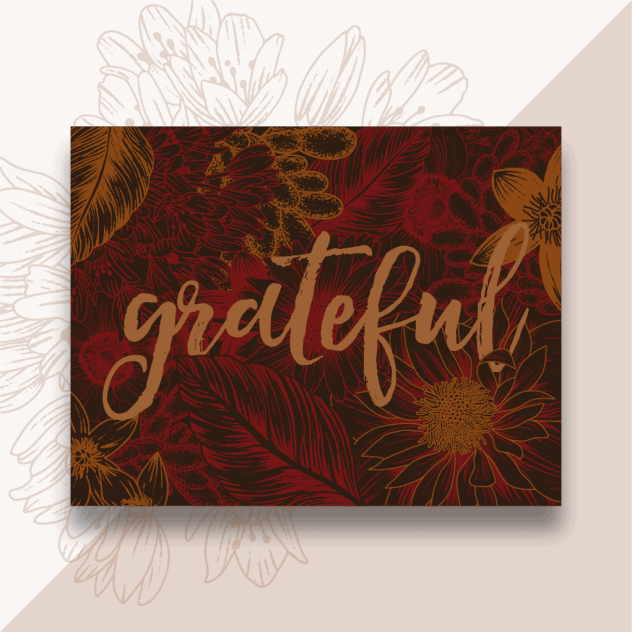 Foster The Love Notecard - Grateful - floral pattern - red and orange