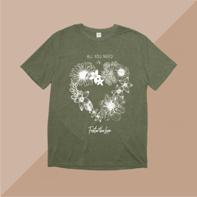 All You Need Is Love short sleeve t-shirt in olive, benefitting Foster The Love Louisiana