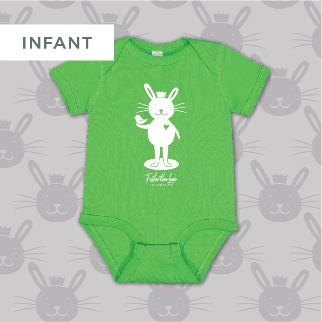 Bunny short sleeve onesie in green, benefitting Foster The Love Louisiana