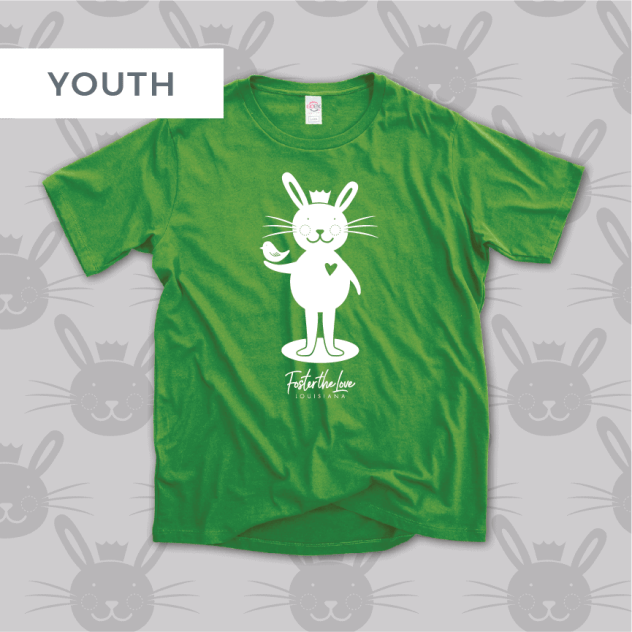 Bunny short sleeve t-shirt in green, benefitting Foster The Love Louisiana