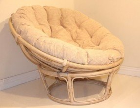 Rattan Patio Chairs   Foter Handmade Rattan Wicker Round Papasan Chair with Cushion White Wash