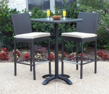 Bar Height Patio Furniture Sets   Foter Outdoor Patio Wicker Furniture New Resin 3 Piece Dining Bar Table    Barstool Set