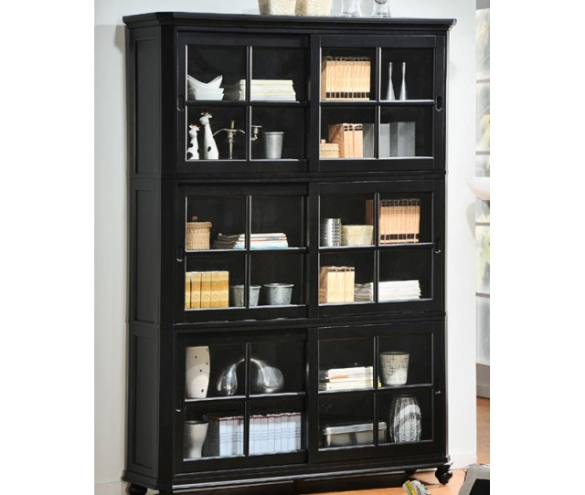Wood Bookcase With Glass Doors 5