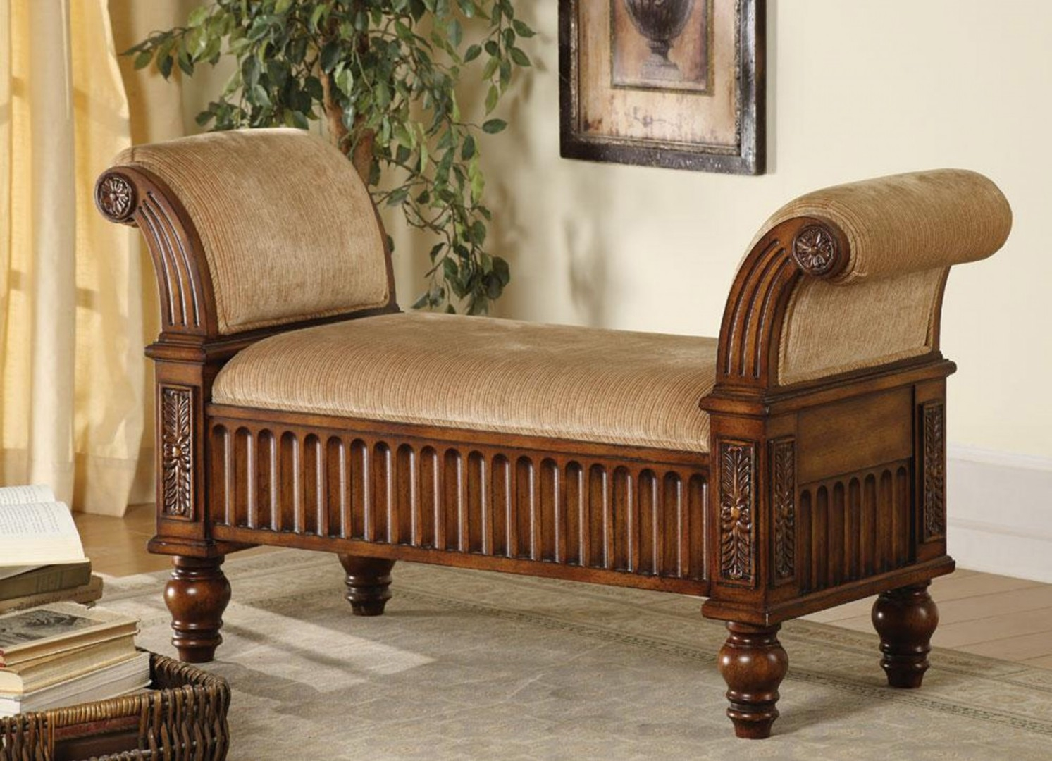 upholstered storage bench with arms