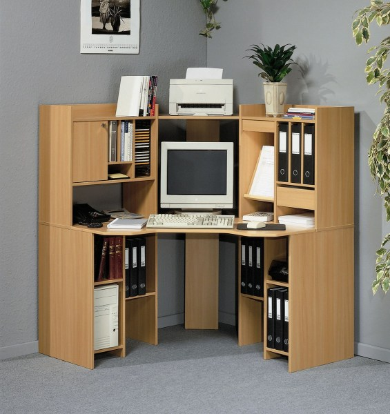 Corner Computer Desk With Shelves   Foter Computer desk shelving unit