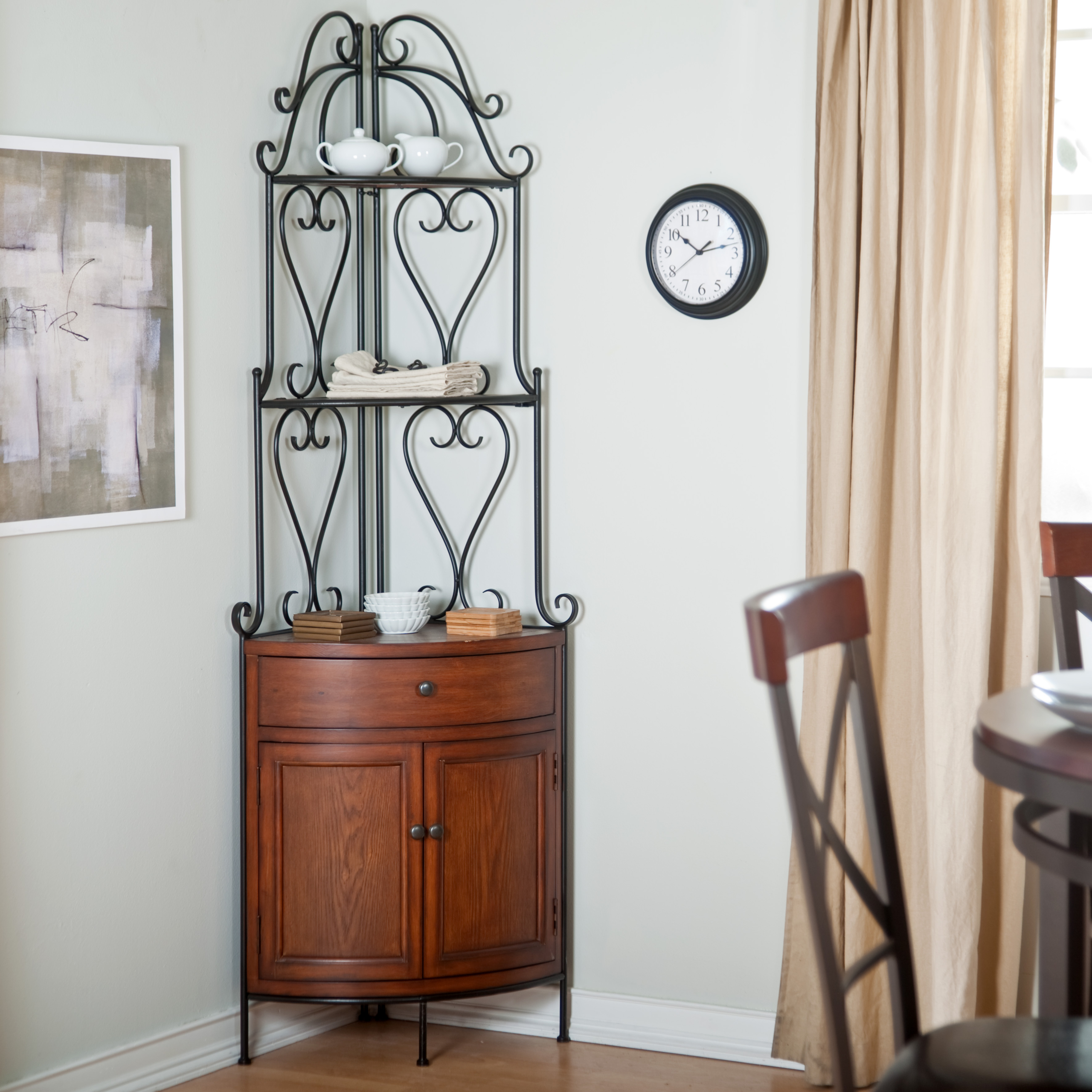 corner bakers rack with cabinet ideas