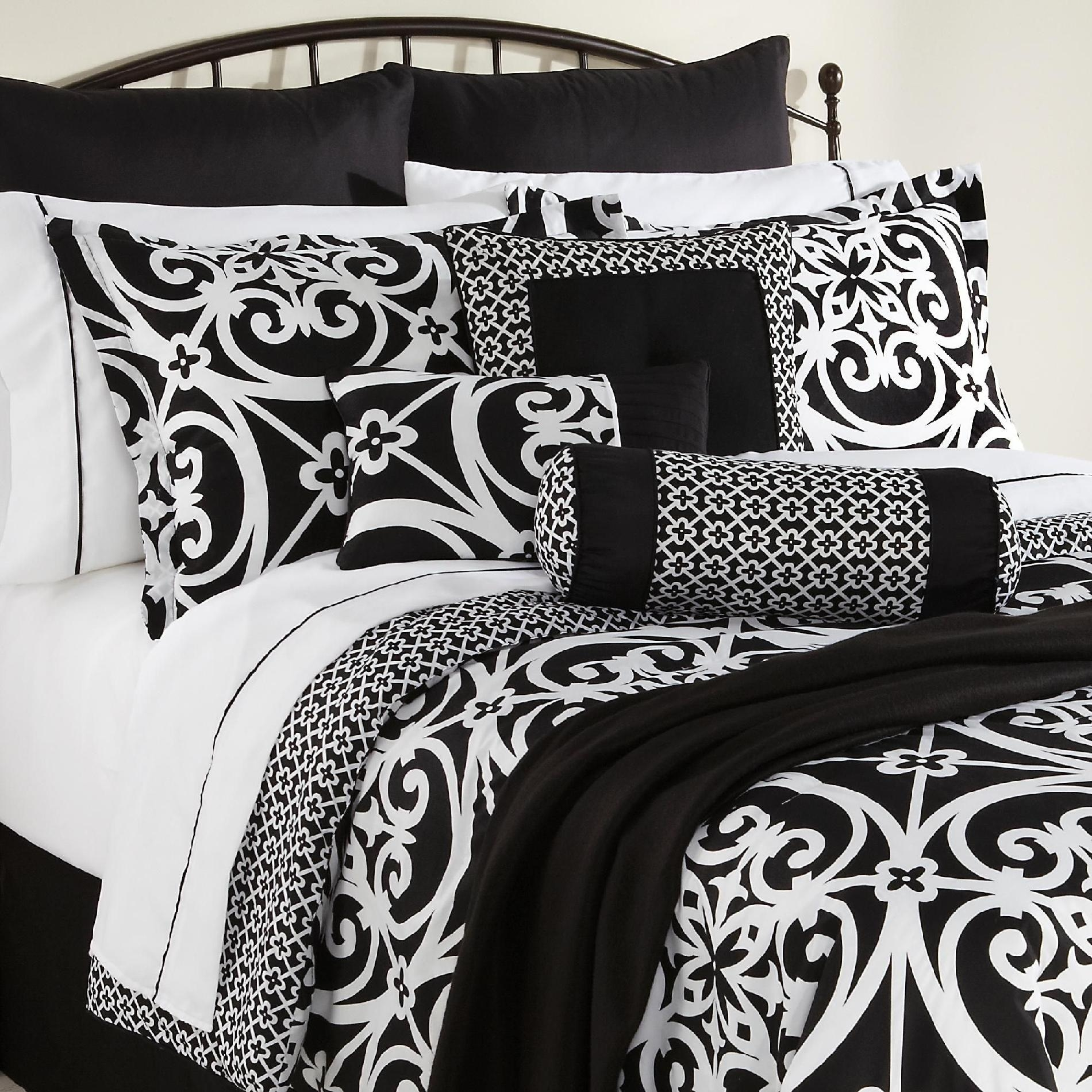 blue and black damask bedding ideas