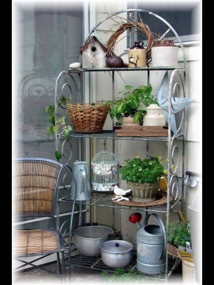 wrought iron bakers rack outdoor