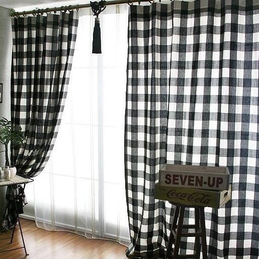black and white plaid curtains ideas