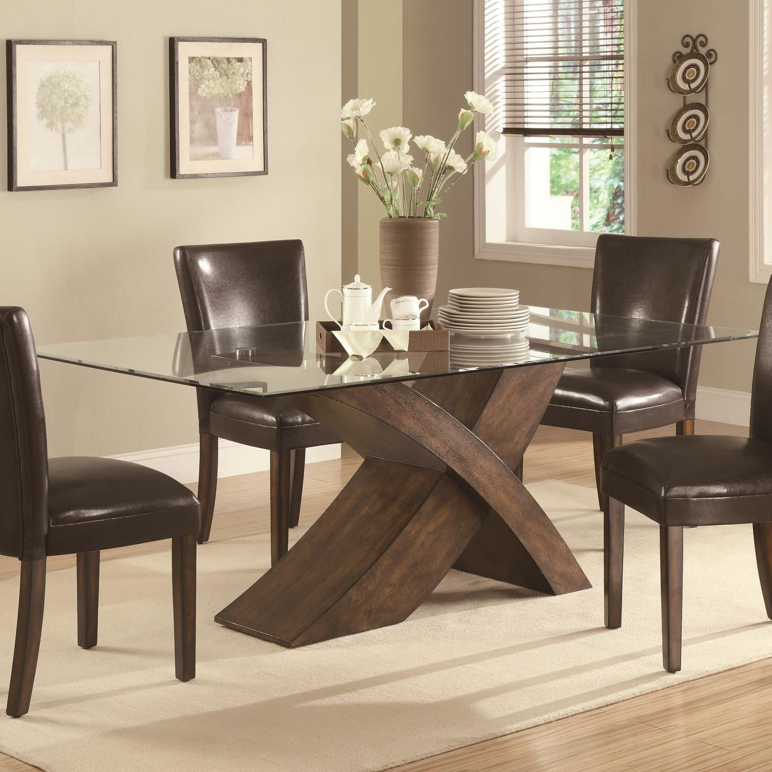 glass dining table with wood base