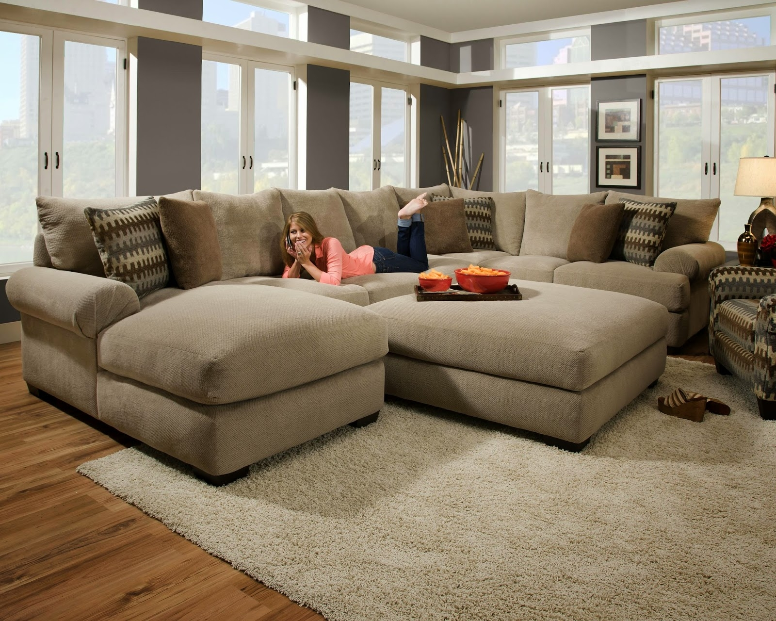 microfiber sectional sofa with ottoman