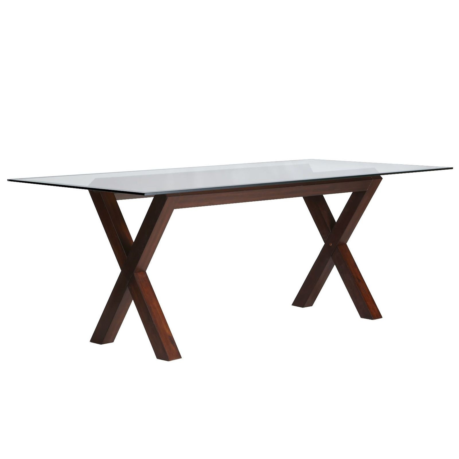 wood base glass top dining table