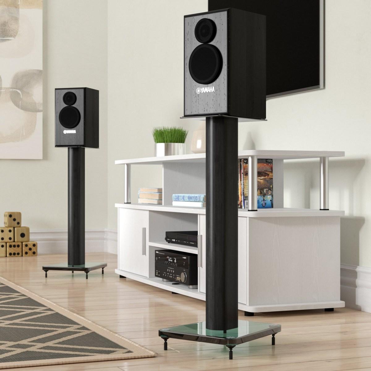 Black Tempered Glass Metal Steel Speaker Stand