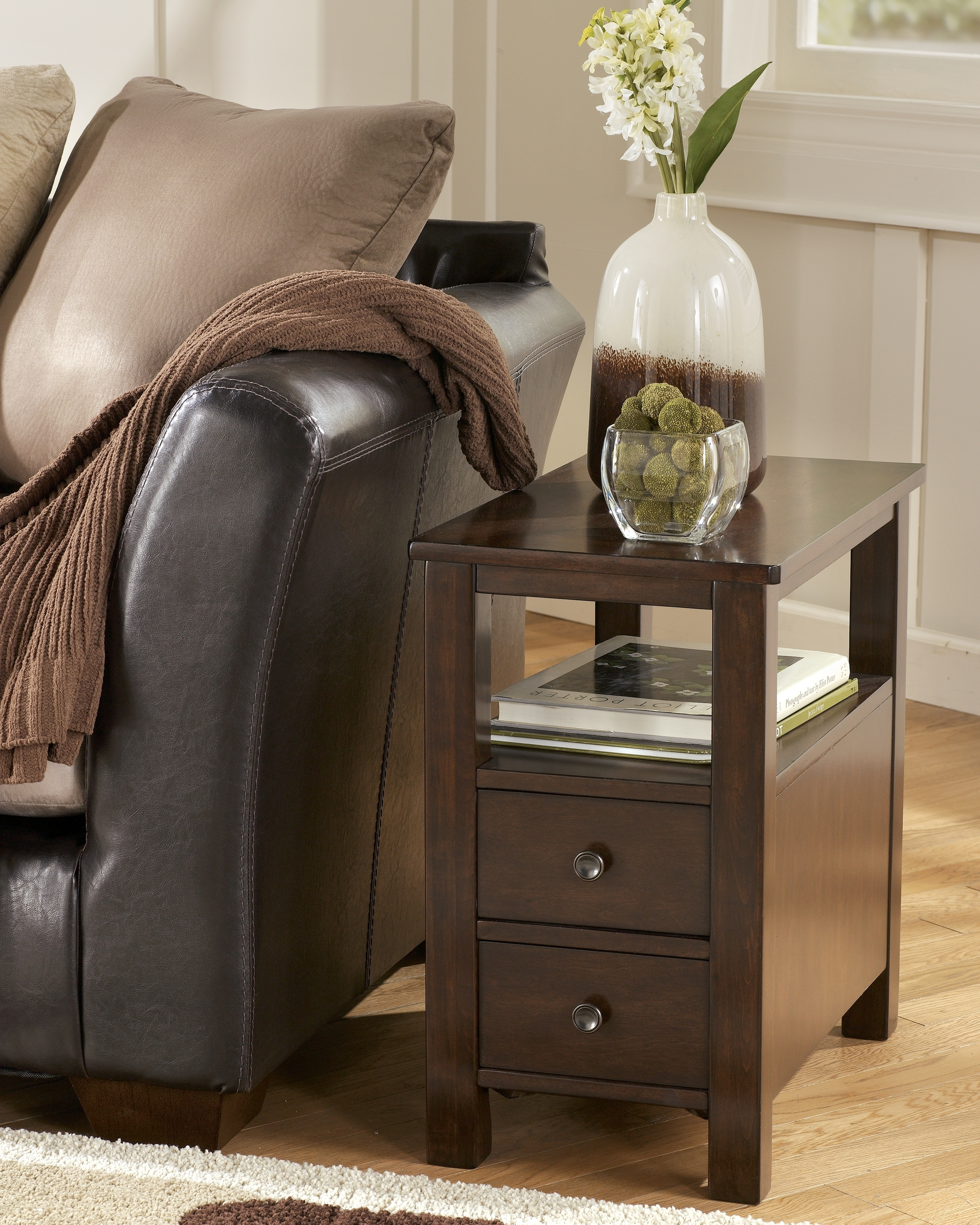 narrow end table with drawers ideas
