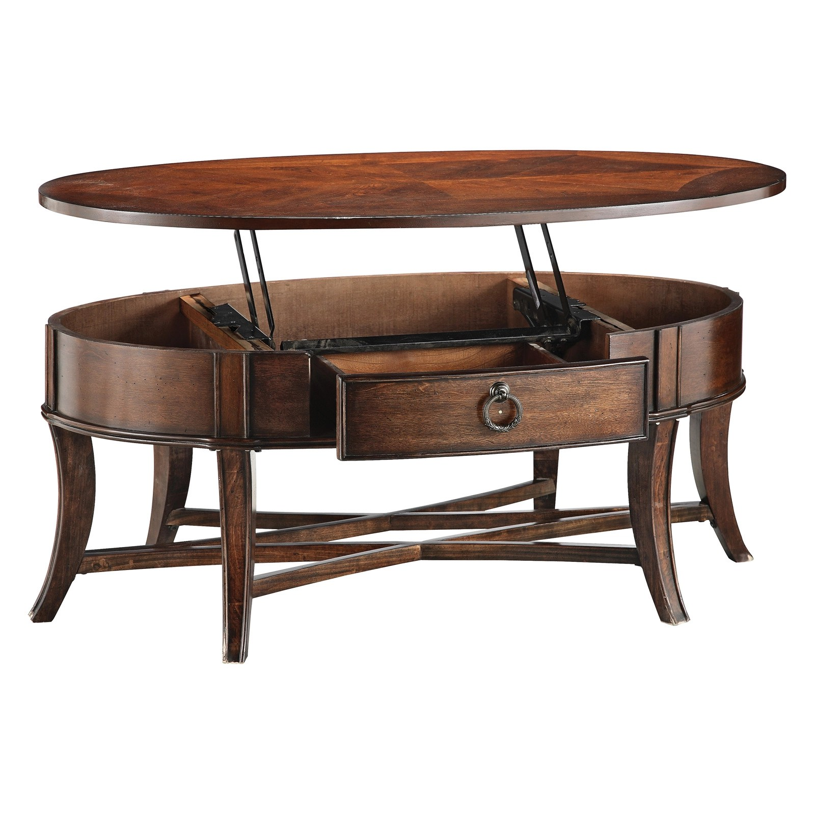 oval coffee table with storage ideas