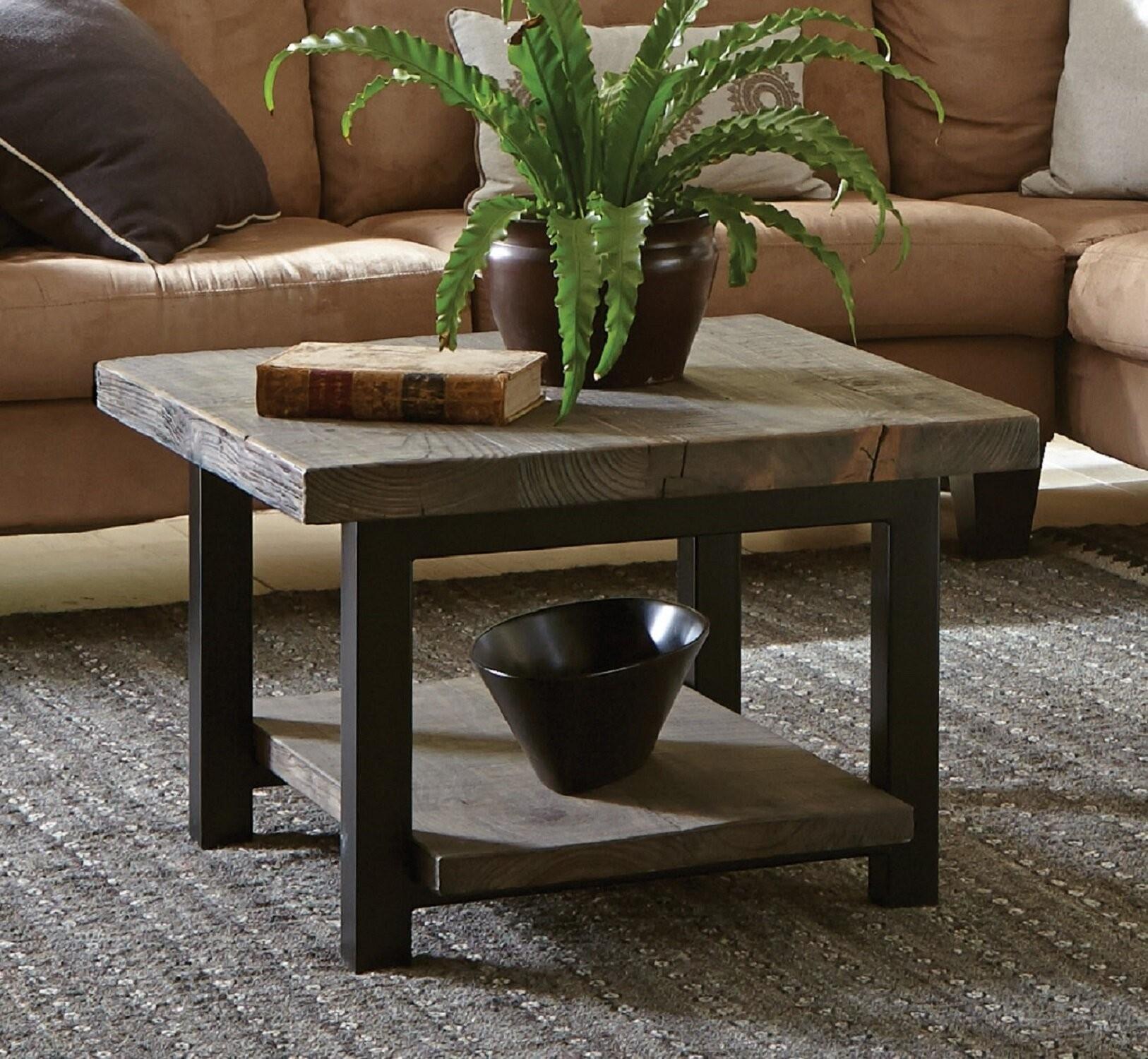 wood top coffee table metal legs