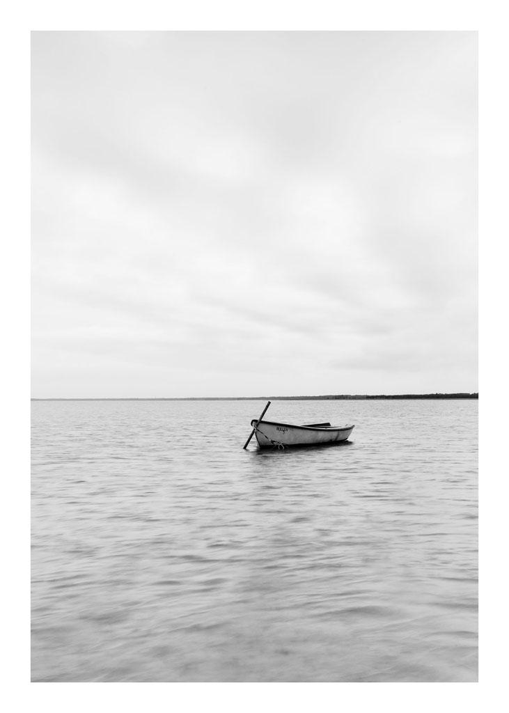 Boat Black White
