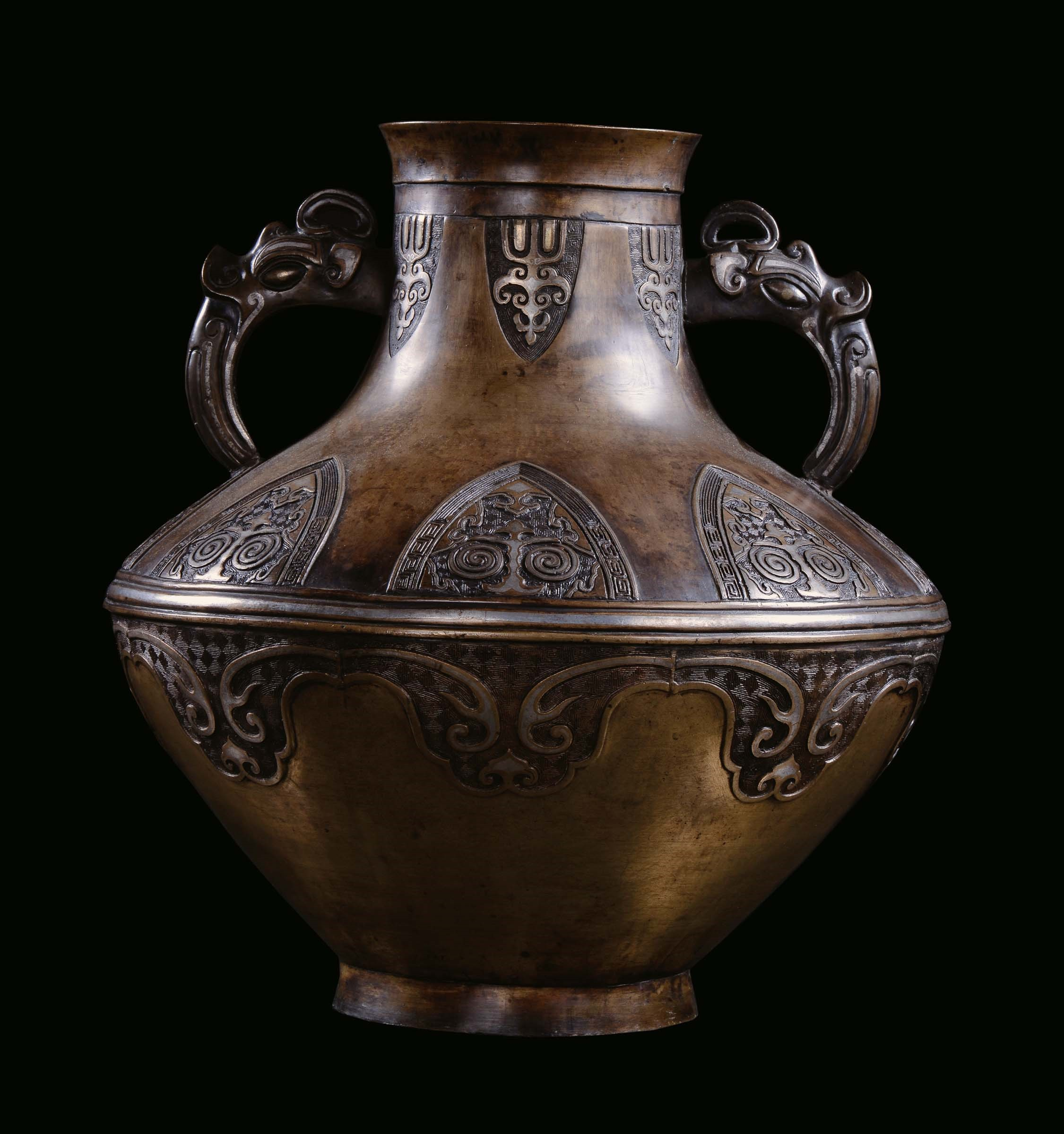 Large Bronze Vase Archaic Shape With Zoomorphic Handles