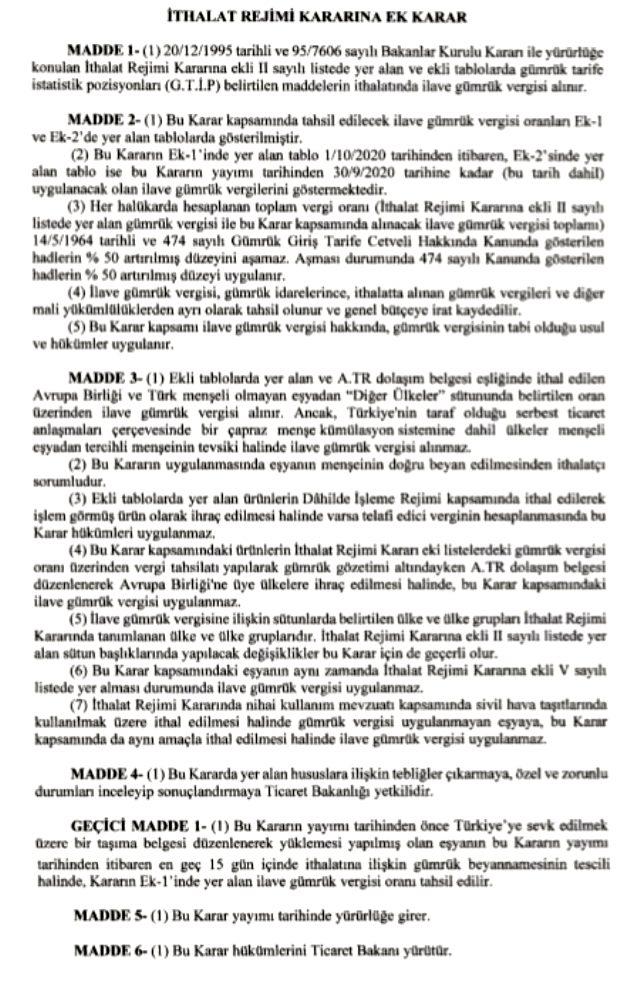 Gümrük Vergisi - Cumhurbaşkanı Erdoğan'ın imzasıyla 800'den fazla ürüne ilave gümrük vergisi getirildi