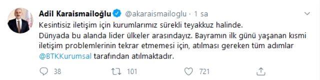 Ulaştırma ve Altyapı Bakanı Karaismailoğlu, bayramda sorun yaşayan GSM operatörleriyle ilgili açıklama yaptı