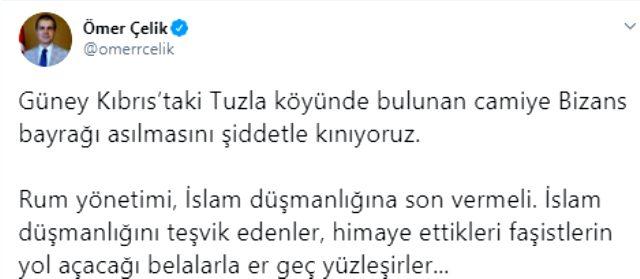 Güney Kıbrıs'ta camiye Bizans bayrağı asılmasına Türkiye'den sert tepki: Rum yönetimi, İslam düşmanlığına son vermeli