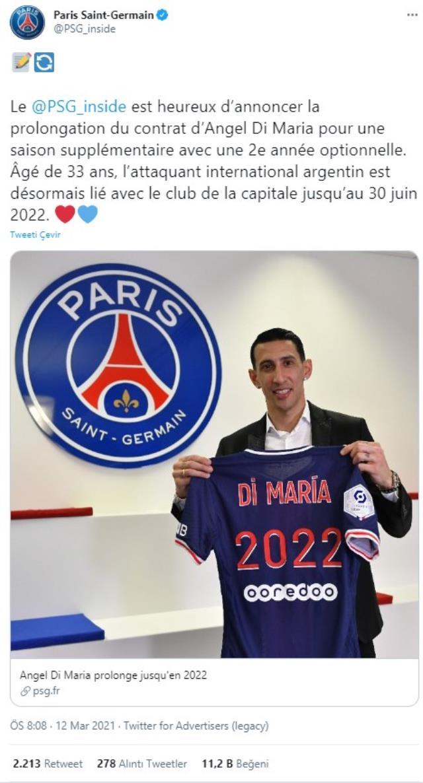 PSG, Angel Di Maria'nın sözleşmesini bir yıl uzattı