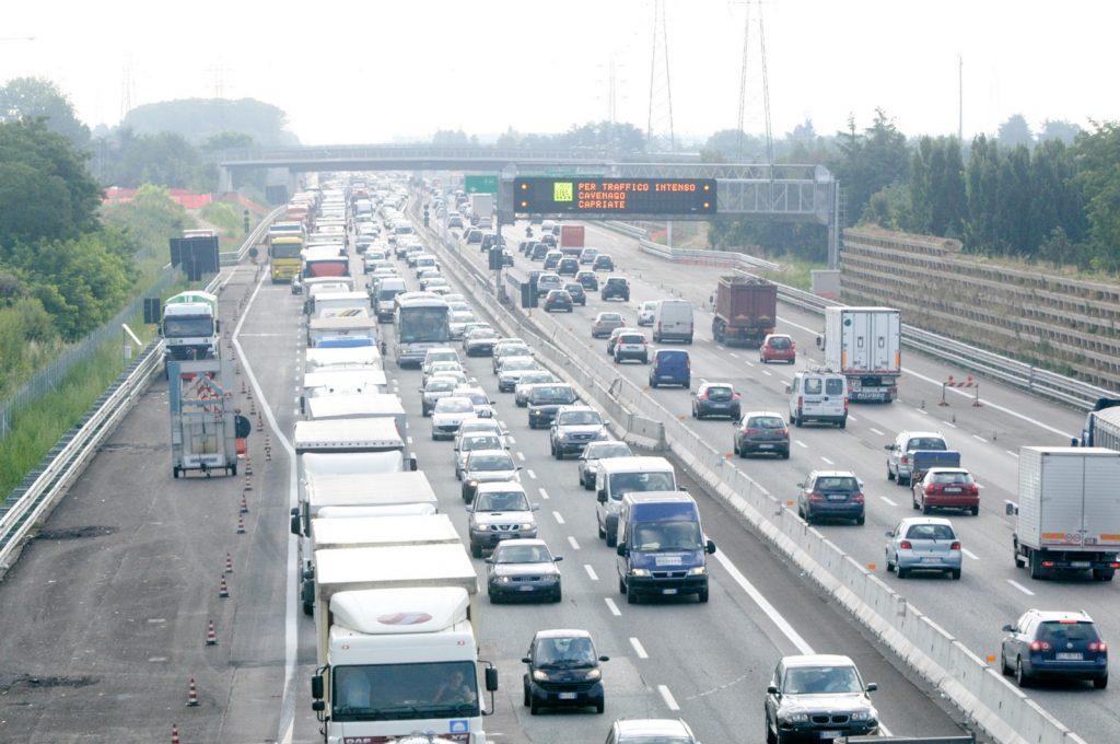 Queues on the motorway with black sticker motorway traffic