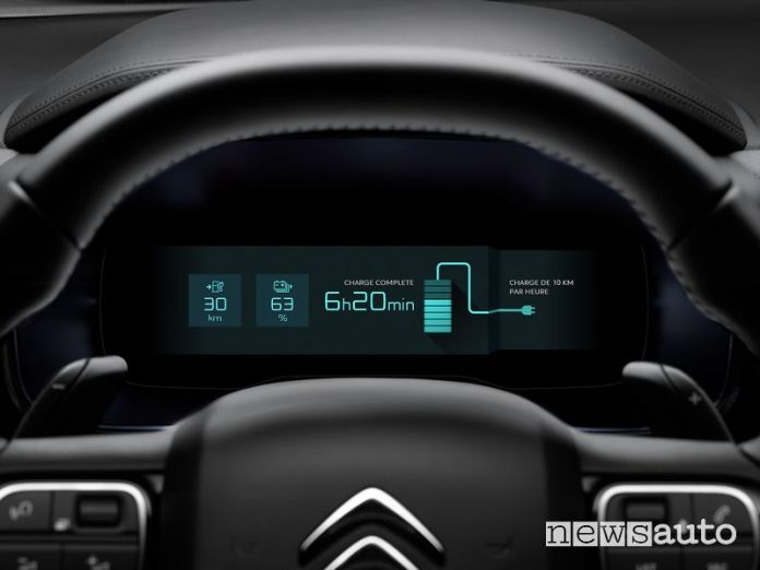 Instrument cluster screen for charging the Citroen C5 Aircross Hybrid plug-in