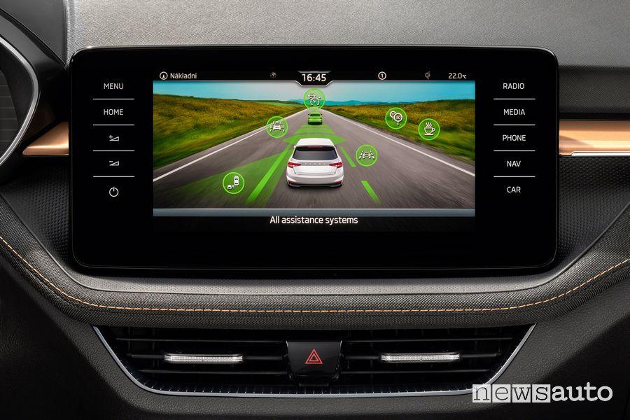 ADAS info on the new Škoda Fabia interior touchscreen