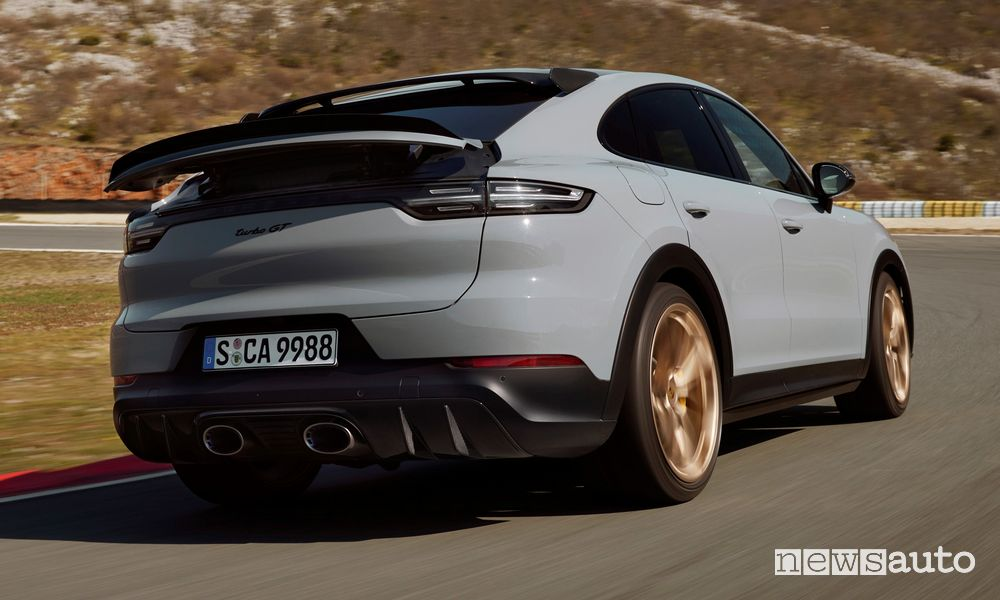 Rear view of the new Porsche Cayenne Turbo GT on the track