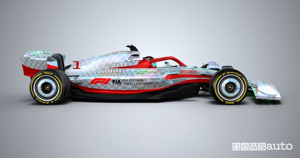 Side view of the new F1 2022 single-seater