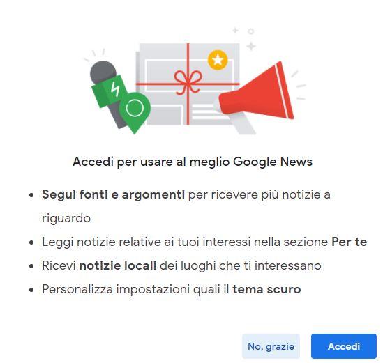 Google login screen, invitation to login to better use Google News