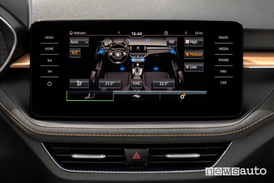 Touchscreen climate controls for the new Škoda Fabia interior