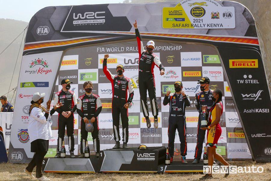 final podium of the Safari Rally Kenya 2021