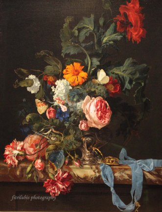 Floral Still Life with Pocket Watch by Willem van Aelst