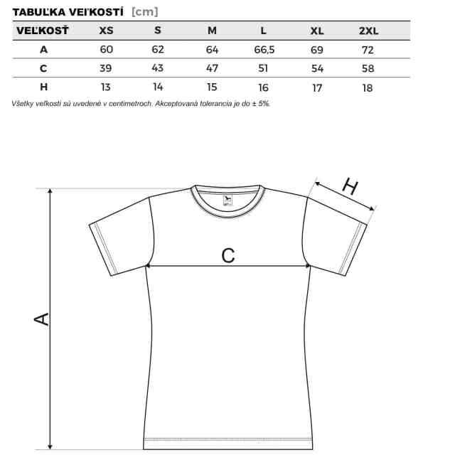 Tabuľka veľkostí: Dámske tričko fantasy.
