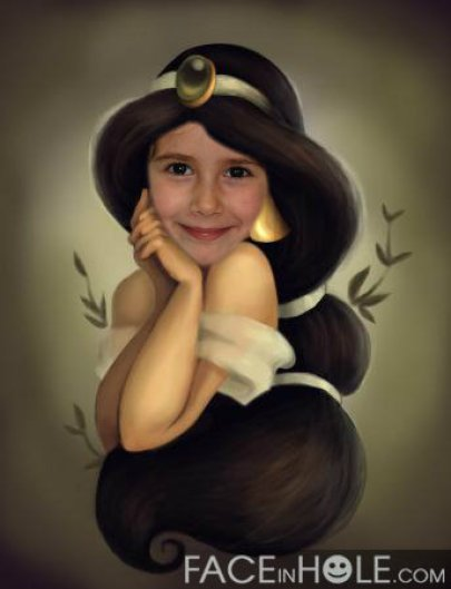 Fotomontaje de Princesas Disney. Efecto Infantil Jasmin. Aladdin